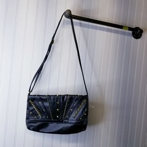 Black and Gold Faux Leather Crossbody